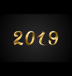 2019 golden new year sign with golden glitter and vector image