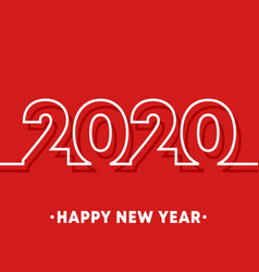 2020 happy new year template minimal line design vector image