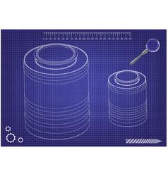 3d model of barrel on a blue vector image