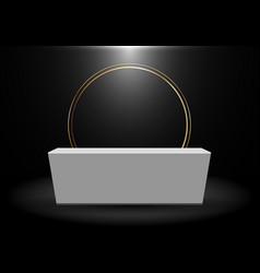 3d rendering realistic black product shelf vector image