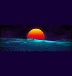80s background retro landscape futuristic neon vector image