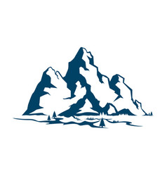 a mountain range and trees near it vector image