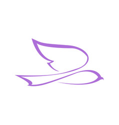 Abstract flying dove line art symbol graphic vector