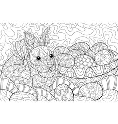 Adult coloring bookpage a cute easter rabbit near vector