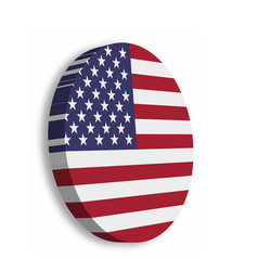 American flag circle 3d button with dropped shadow vector
