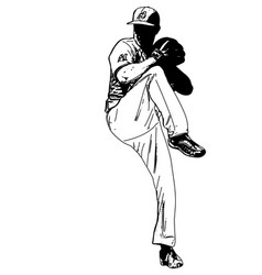 Baseball pitcher sketch vector