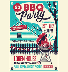 bbq party on the backyard poster vector image