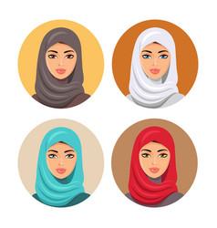 Beautiful muslim woman icons set female portrait vector