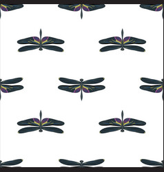 black and white dragonfly seamless pattern vector image