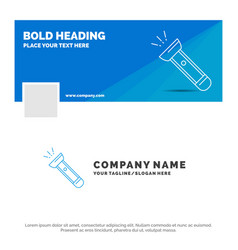 Blue business logo template for torch light flash vector