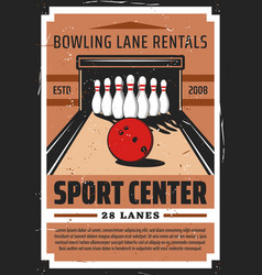 bowling sport alley with pins vector image