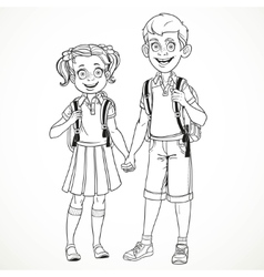 Boy and girl with a school bag holding hands line vector