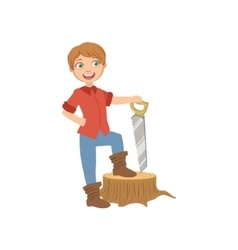 Boy Dressed As Lumberjack Holding A Saw vector image vector image