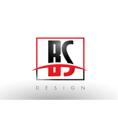 Bs b s logo letters with red and black colors vector