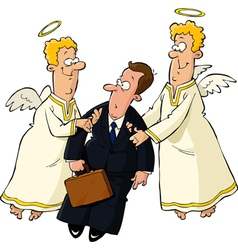 Businessman and angels vector