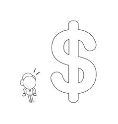 businessman character looking big dollar symbol vector image