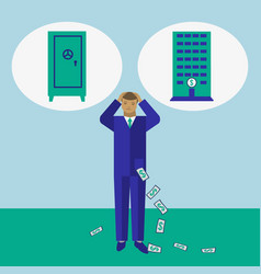 Businessman decide where to keep his money vector