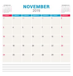 calendar planner for november 2019 week starts on vector image