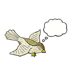 Cartoon flying bird with thought bubble vector