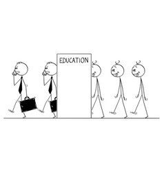 cartoon of line of dull men transforming in to vector image