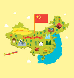 Cartoon travel china tourism concept vector