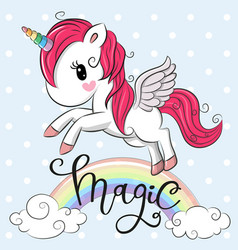 cartoon unicorn is flying under the rainbow vector image