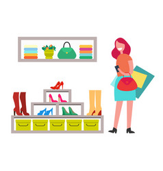 cheerful lady with red handbag and many purchases vector image