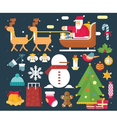 Christmas character and New Year Santa Claus flat vector image
