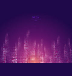 cityscape on a dark background with bright vector image