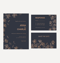 Collection of wedding invitation and response card vector
