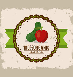 colorful logo of organic best food with cucumber vector image