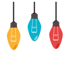 Colorful set collection light bulb hanging vector