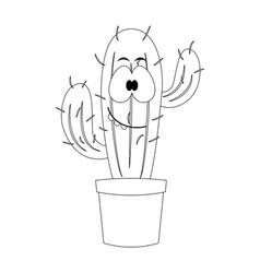 colorless cartoon cactus vector image