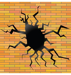 Crack on a brick background vector