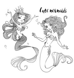 cute cartoon mermaids vector image
