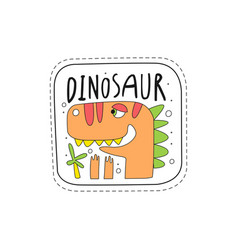 Cute dinosaur patch badge childish cartoon animal vector