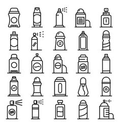 Deodorant icons set outline style vector