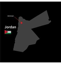 Detailed map jordan and capital city amman vector