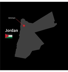 Detailed map of Jordan and capital city Amman with vector image