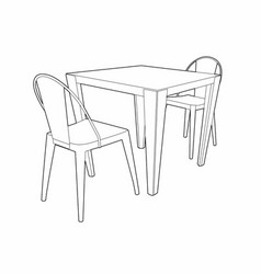 drawing of a table and two chairs vector image