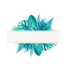 Empty banner with tropical plants leaves in blue vector