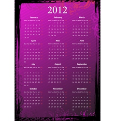 european floral pink and black grungy calendar 201 vector image