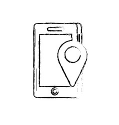 Figure smartphone technology with location map vector
