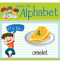 Flashcard letter O is for omelet vector