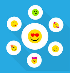 Flat icon gesture set of love frown party time vector