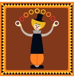 Funny clown juggler rings vector