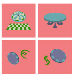 gambling icons set card and casino poker game vector image