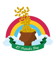 Gold st patricks day icon vector
