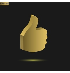 Golden thumb up vector image