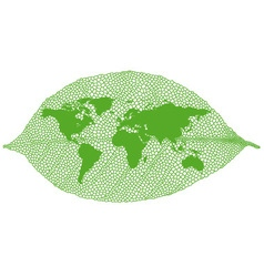 Green leaf world map vector image